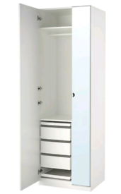 Ikea pax wardrobe mirror doors, White 75x40x200 cm