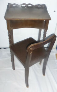 Antique TELEPHONE TABLE & CHAIR Spindled Wood