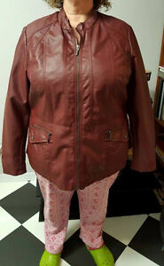 Ladies Burgandy Vinyl Coat / Jacket