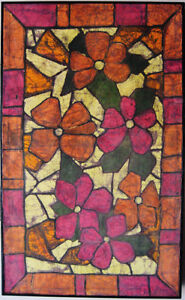 "Framed Original ""Stained Glass Daisies"" Batik Fabric Art"