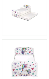 Toddler Unicorn Bed with mattress and storage