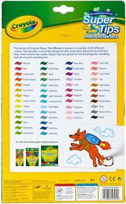 Crayola Washable Super Tips Fine Line Markers - Assorted Ink - 50 / (585050)