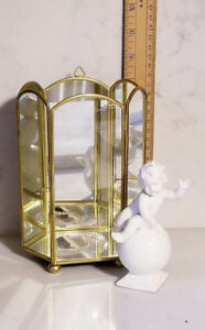 Vintage Brass Mirror Curio Display Cabinet