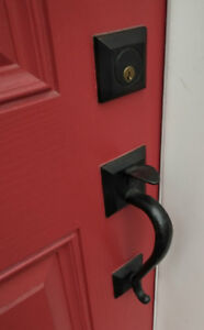 Door Handle-Deadbolt Set - Baldwin, Black Wrought Iron