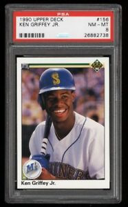 KEN GRIFFEY JR .... 1990 Upper Deck (2nd year) .... PSA GRADED 8