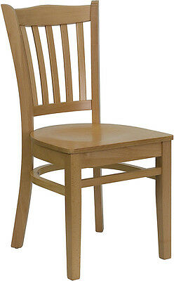 10 Natural Finish Wood Frame Vertical Slat Back Restaurant Chairs With Wood Seat