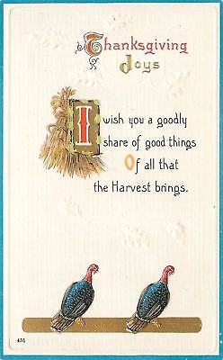 Thanksgiving Pair Of Turkeys Cornstalks Goodly Harvest Share Gold Leaf Embossed