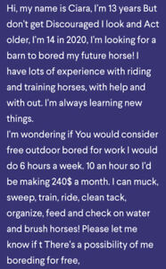 Looking for a job On horse farm) and or free bored for work)