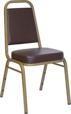 Vinyl Padded Stack Chair - Thickly Padded Brown Vinyl Banquet Catering Stack Chair with Gold Frame