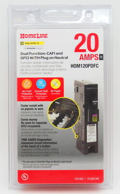 Square D Homeline Hom120pdfc 20a Dual Function Plug In Breaker New Selaed
