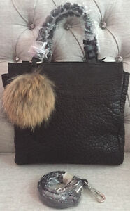 Designer Christopher Kon Black Leather Handbag w/ Fur Pom Pom