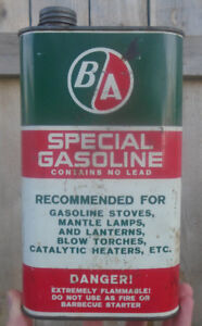 VINTAGE 1960's B/A SPECIAL GASOLINE IMPERIAL QUART CAN