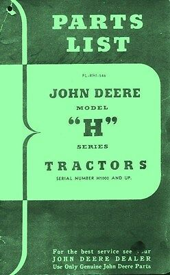 John Deere H Hn Hnh Hwh Tractor Parts List Manual H1000 Jd