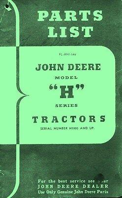 John Deere H HN HNH HWH Tractor Parts List Manual H1000+ - Parts List Manual