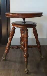 Antique Piano Stool with Glass Claws