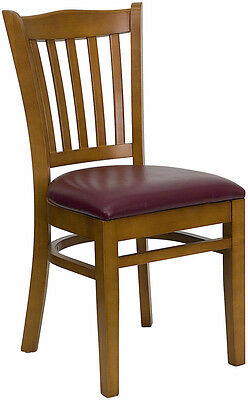 10 Cherry Wood Frame Vertical Slat Back Restaurant Chairs W Burgundy Vinyl Seat