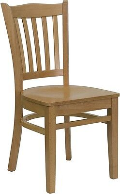 Natural Wood Finished Vertical Slat Back Restaurant Chair W Matching Wood Seat