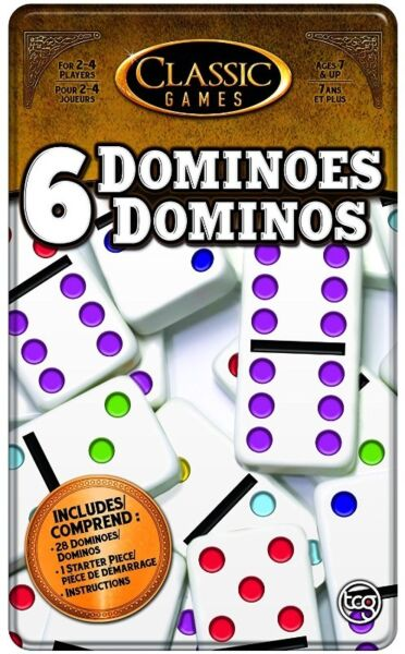 BNIB: TCG Toys Double 6 Dominoes Game with Tin Case