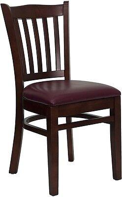 Mahogany Finished Vertical Slat Back Wooden Restaurant Chair - Mahogany Vinyl