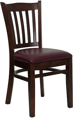 20 Mahogany Wood Frame Vertical Slat Back Restaurant Chairs Burgundy Vinyl Seat