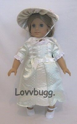 "Lovvbugg Colonial Summer Dress Set for 18"" American Girl Elizabeth Doll Clothes"