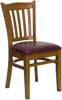 Cherry Wood Finished Vertical Slat Back Restaurant Chair W Burgundy Vinyl Seat