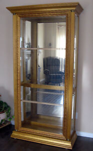 Pulaski Antique Gold Beveled Glass China Display  Curio Cabinet
