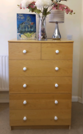 Tall Chest of Drawers Bedroom Living Room Storage Beech Wood Effect