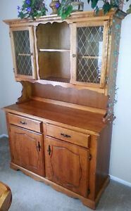Used Maple China Cabinet and Hutch