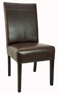 4 6 8 Antique Brown T-Patch Leather Dining Room Chair