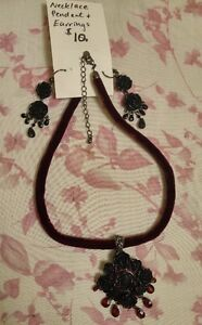 Vintage Style Burgundy and Black Choker, Pendant and Earrings