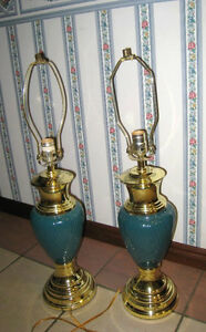 2 Nice Green/Gold table Lamps, no shades