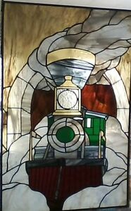 HANDCRAFTED STAINED GLASS LOCOMOTIVE PICTURE