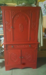 Beautiful Red...  solid wood ...antique Cabinet.