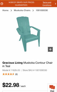Gracious Living Muskoka Contour patio Chairs in Teal 2 for $30