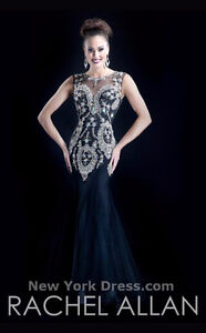 Sleeveless dress w/Baroque adornments by Rachel Allan Couture
