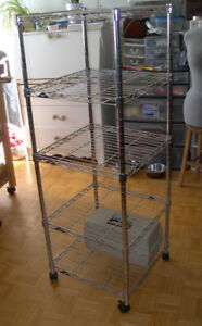 5-Shelf Stainless Steel Rack on Casters