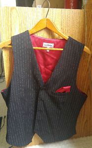 Le Château black and red pinstripe vest *Made In Canada*