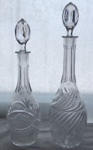 Glass decanters with crystal pattern