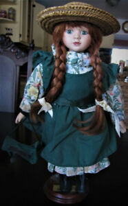 Anne of Green Gables porcelain doll with stand
