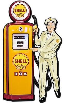 Schild Shell Zapfsäule Mann Auto Werkstatt Tankstelle Reklame