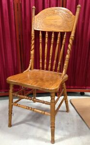 Oak Press Back Chair