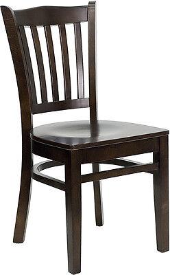 Walnut Wood Frame Vertical Slat Back Restaurant Chair Matching Wood Seat