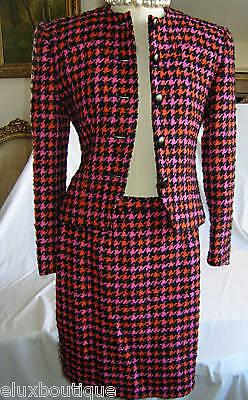 GUY LAROCHE Tweed SKIRT SUIT Wool Boucle Jacket Ensemble Black Hot Pink Orange](Pink Guy Suit)