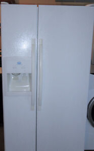 White Double Door Fridge with Ice Maker and Water Line