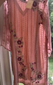 Agha Noor Pink Floral Kurta Never Worn $60