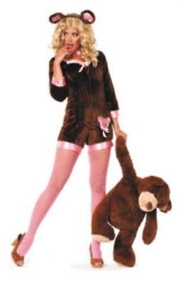 Bär Bären Bärin Tier Kostüm kurz Overall Plüsch Kleid Bärenkostüm Teddybär (Teddy Bär Kostüm Damen)