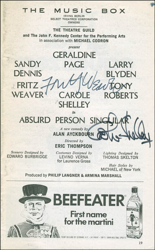 ABSURD PERSON SINGULAR BROADWAY CAST - SHOW BILL SIGNED WITH CO-SIGNERS
