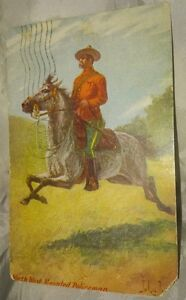 RARE NORTH WEST MOUNTED POLICEMAN, JOHN INNIS POSTCARD, 1908