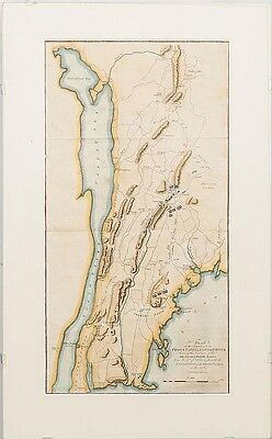 Antique Map of New York City Area Showing Revolutionary War Battle